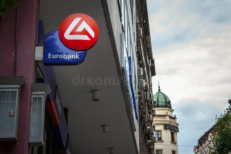 BELGRADO, SERVIË - MEI 25, 2017: Eurobank EFG Servië ` s hoofdbureau in het centrum van Belgrado Eurobank is de bank van Griekenl stock afbeelding