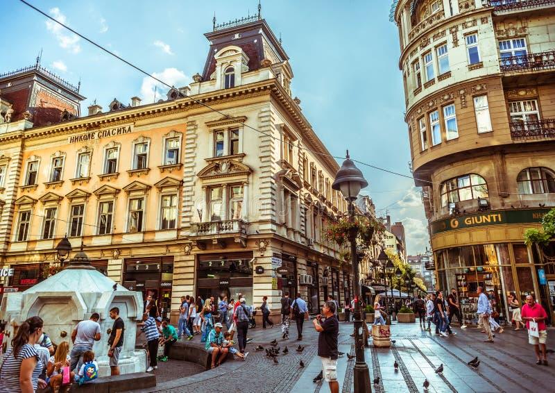 BELGRADO, SERVIË - SEPTEMBER 23: Het Vierkant van de republiek royalty-vrije stock foto's