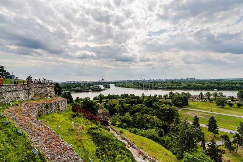 Belgrado, vista panorâmica de Kalemegdan fotografia de stock
