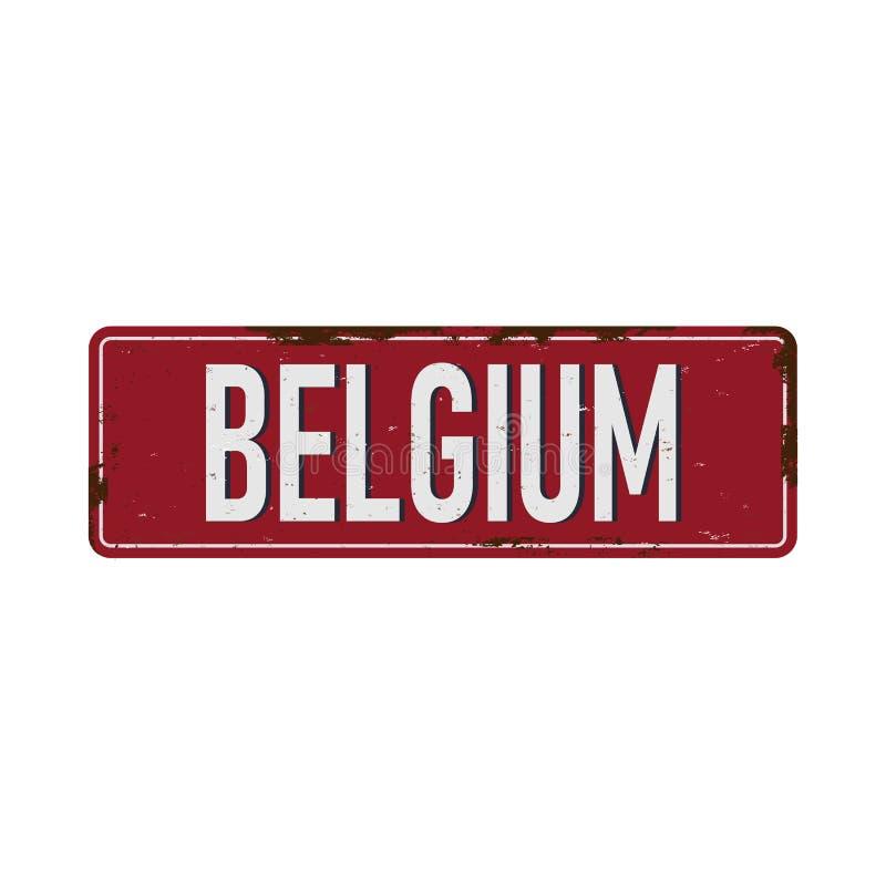 Belgum葡萄酒空白金属标志板生锈的作用镀锡铁皮 向量例证