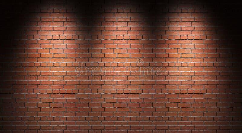 Belichtete Backsteinmauer 3d übertragen stock abbildung