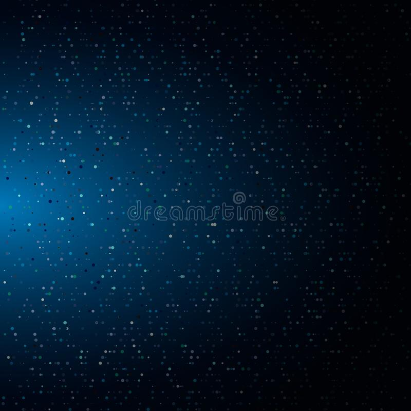 Belichtete glühende Halbtonpartikel der Zusammenfassung besteht aus blauem Neonhintergrund der gelegentlichen Punkte farb Digital stock abbildung