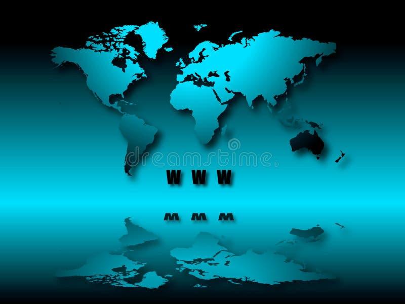 Belichtete Welt WWW lizenzfreie abbildung