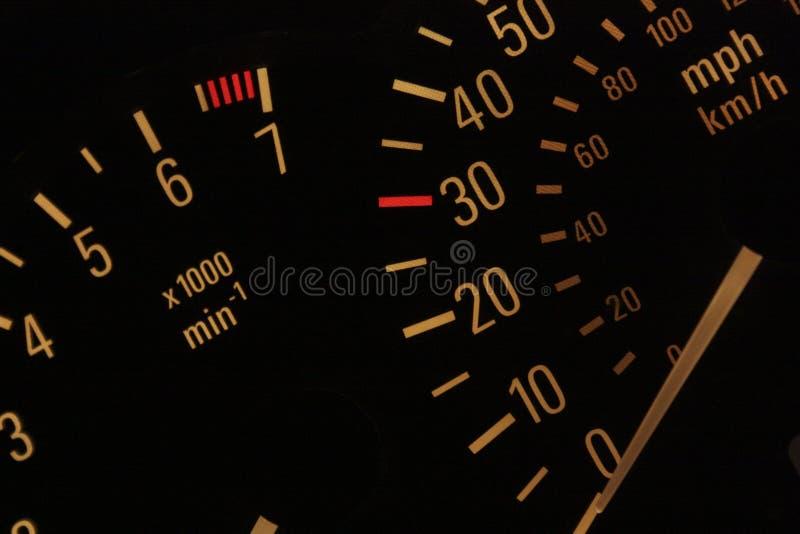 Belichteter Geschwindigkeitsmesser stockbild