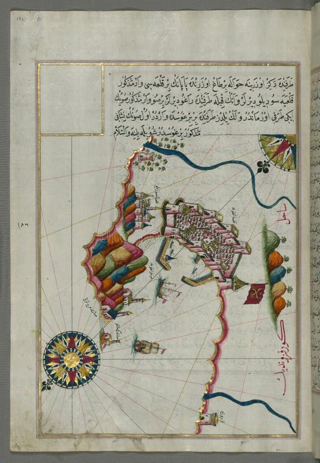 Belichtetes Manuskript Karte der Festung von Ancona, vom Buch auf Navigation, Walters Art Museum-Frau W 658, fol 192a lizenzfreies stockbild
