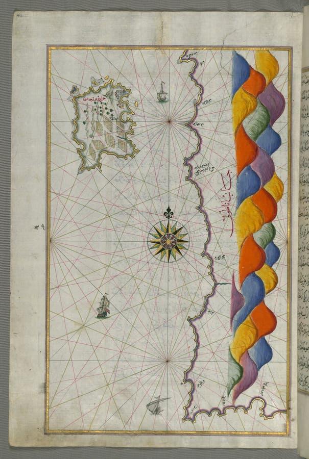 Belichtetes Manuskript-Karte der Insel von Bozjah ( Tenedos) vor der Küste von Anatolien, vom Buch auf Navigation, Walters stockbild