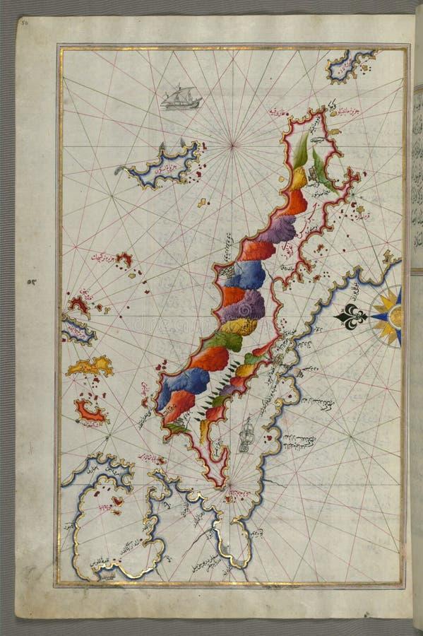 """Belichtetes Manuskript-Karte der Inseln von Skyros ( Ä°skire) und Euboea ( Evvoia, AghrÄ """"bÅ """"z, EÄŸriboz) , von stockfotografie"""