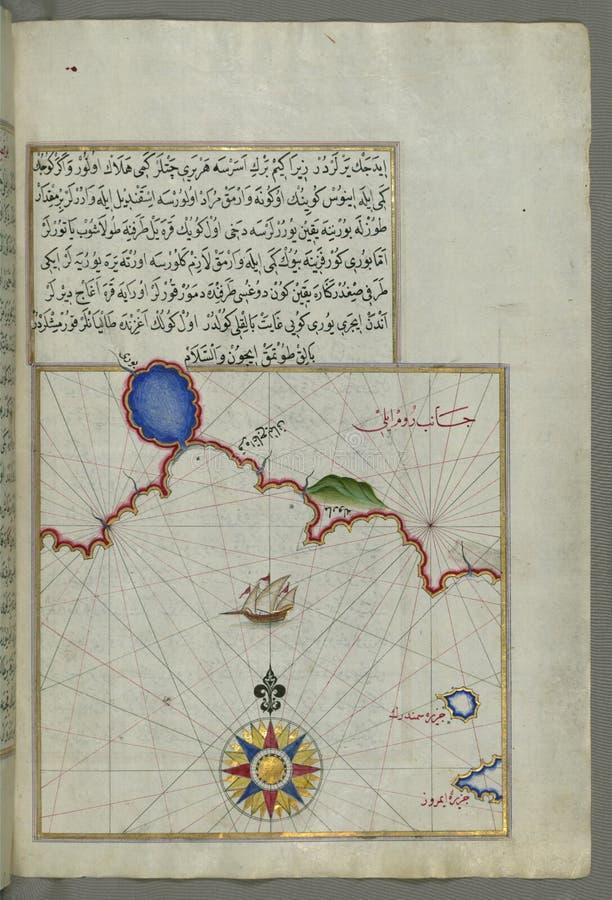 Belichtetes Manuskript-Karte des Teils der europäischen Küstenlinie mit den Inseln von Semendrek ( Samothraki) und Imroz ( lizenzfreies stockfoto