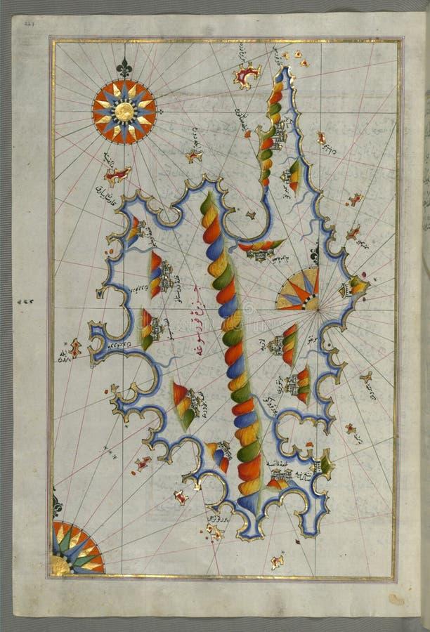 Belichtetes Manuskript Karte von Korsika, vom Buch auf Navigation, Walters Art Museum Ms 658, fol 229a stockfotografie
