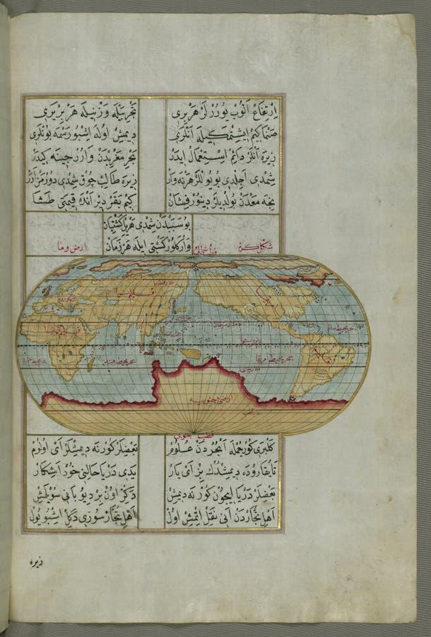Belichtetes Manuskript, ovale Karte der Welt, vom Buch auf Navigation, Walters Art Museum Ms W 658, fol 23b lizenzfreie stockfotos