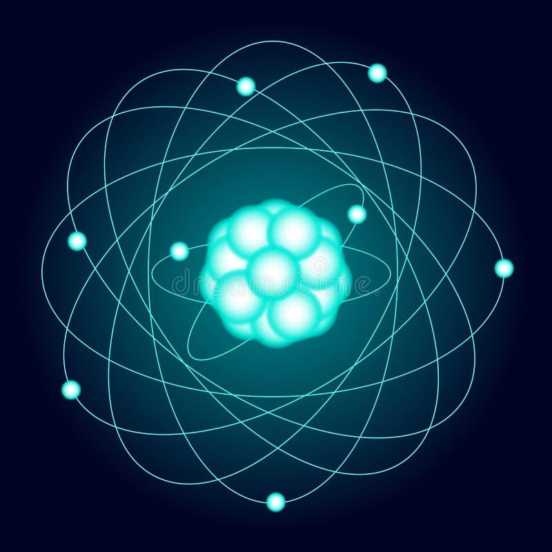 Belichtetes Modell eines Sauerstoffatoms auf einem dunklen Hintergrund Vektor vektor abbildung