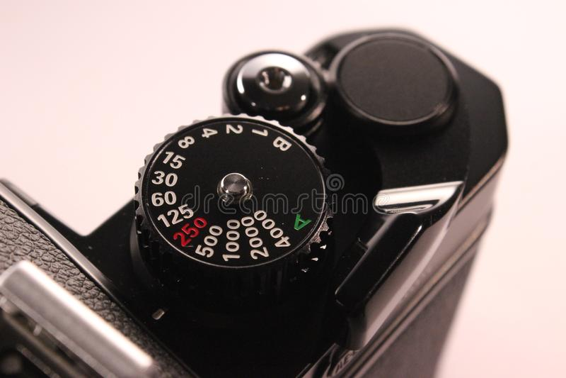 Belichtungszeitskala auf analoger Kamera stockbild