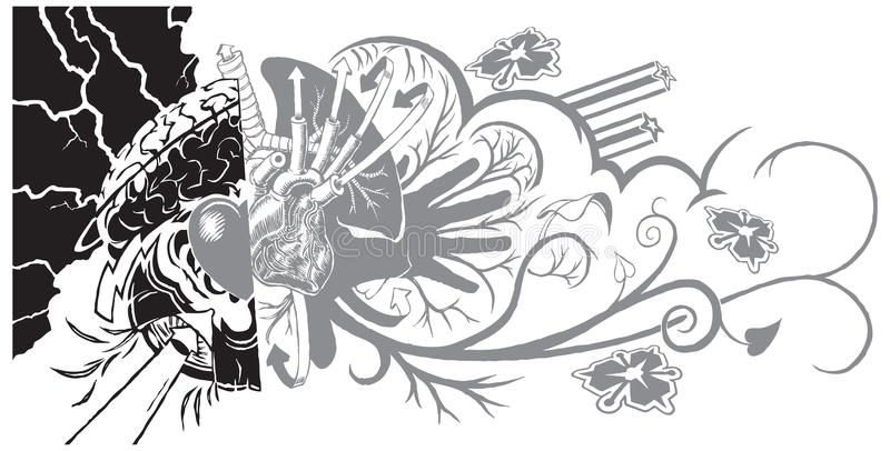 Belief and Life Graffiti Tattoo. An eclectic and dynamic tattoo-like graphic element featuring graffiti-like sub-elements. The left half can symbolize belief vector illustration
