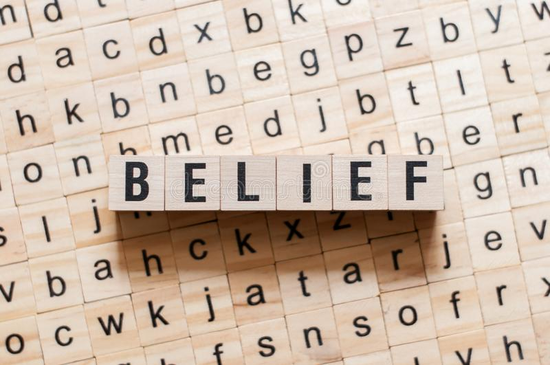 Belief word concept. On cubes royalty free stock photo