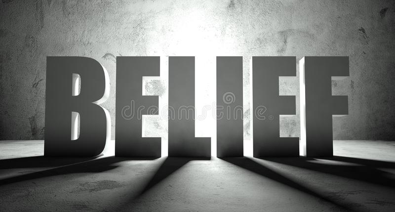 Belief word with shadow, background. With text vector illustration
