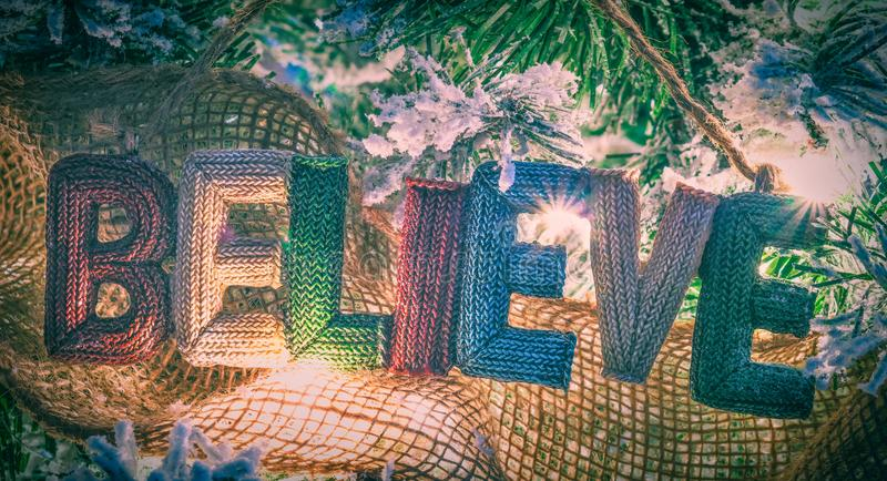 Believe In Christmas Hanging Sign royalty free stock photo