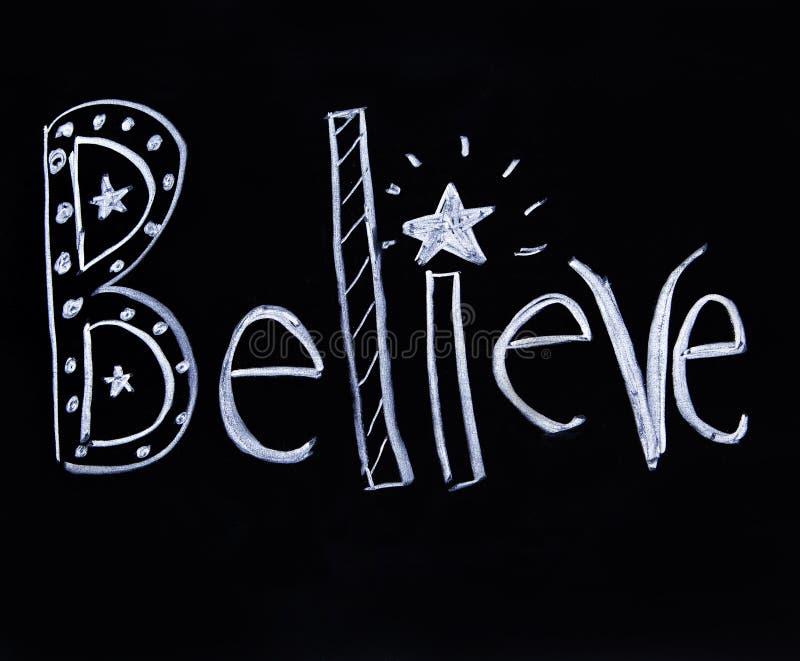 Believe escrita no giz ilustração royalty free