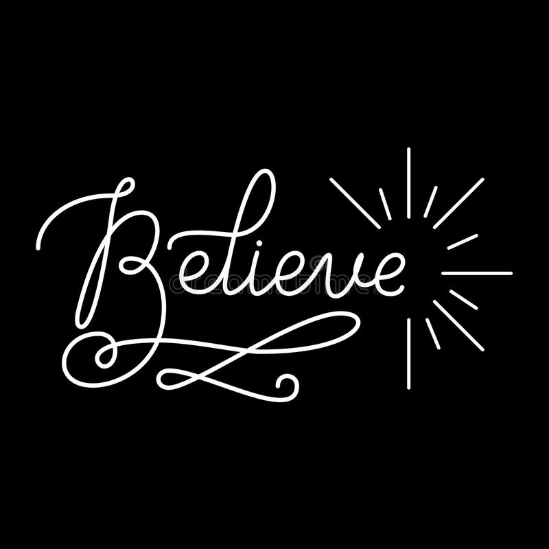 Believe Hand Lettering Type royalty free stock photo