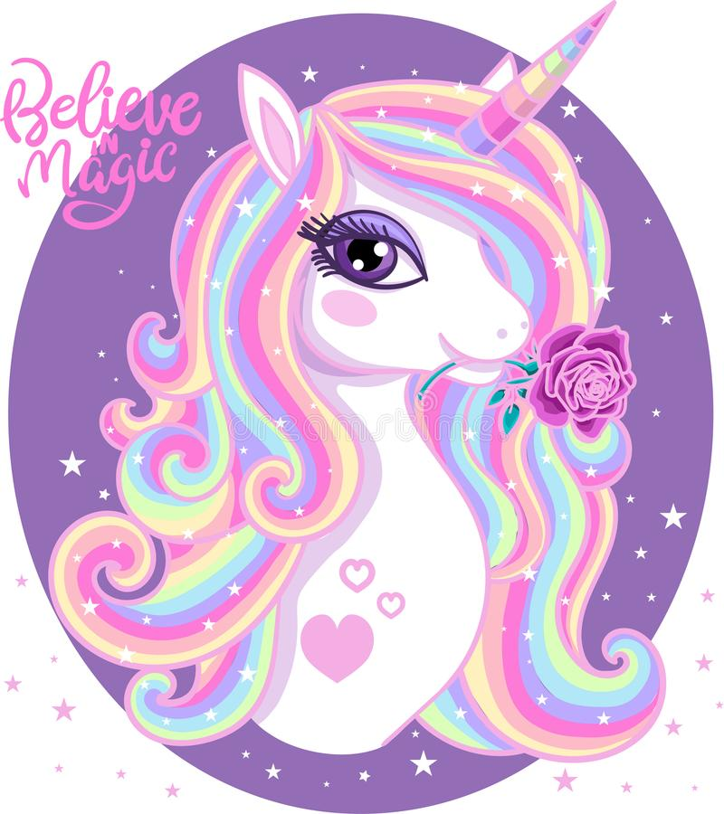 Believe in magic. A beautiful, rainbow unicorn with a rose. stock illustration