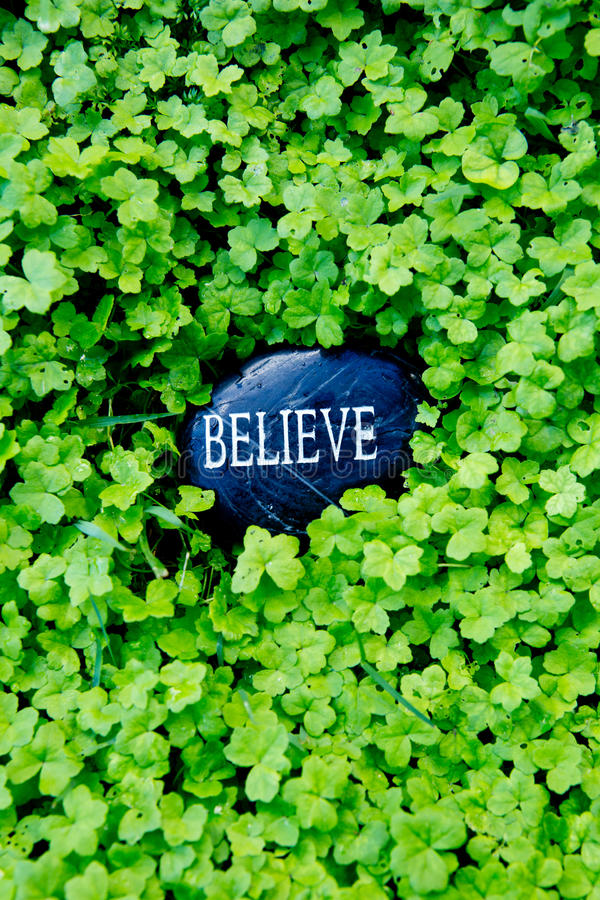 Believe - text on stone in green clover stock images