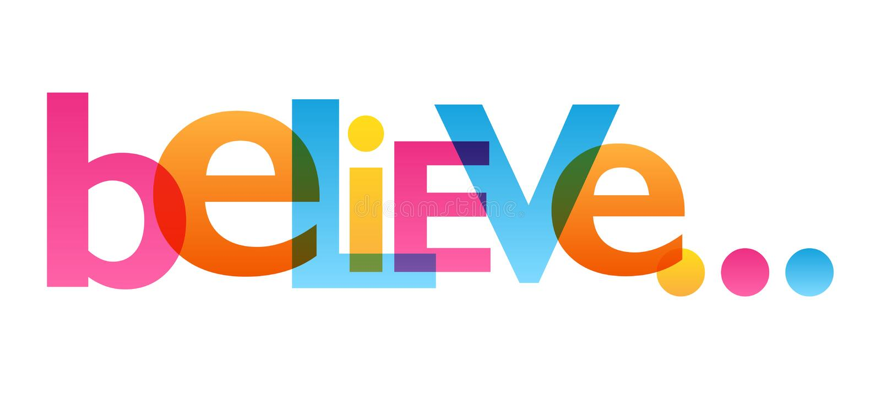believe Typografieplakat vektor abbildung
