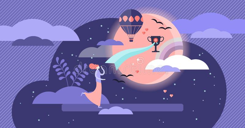 Believe vector illustration. Flat tiny follow your dreams persons concept. royalty free illustration