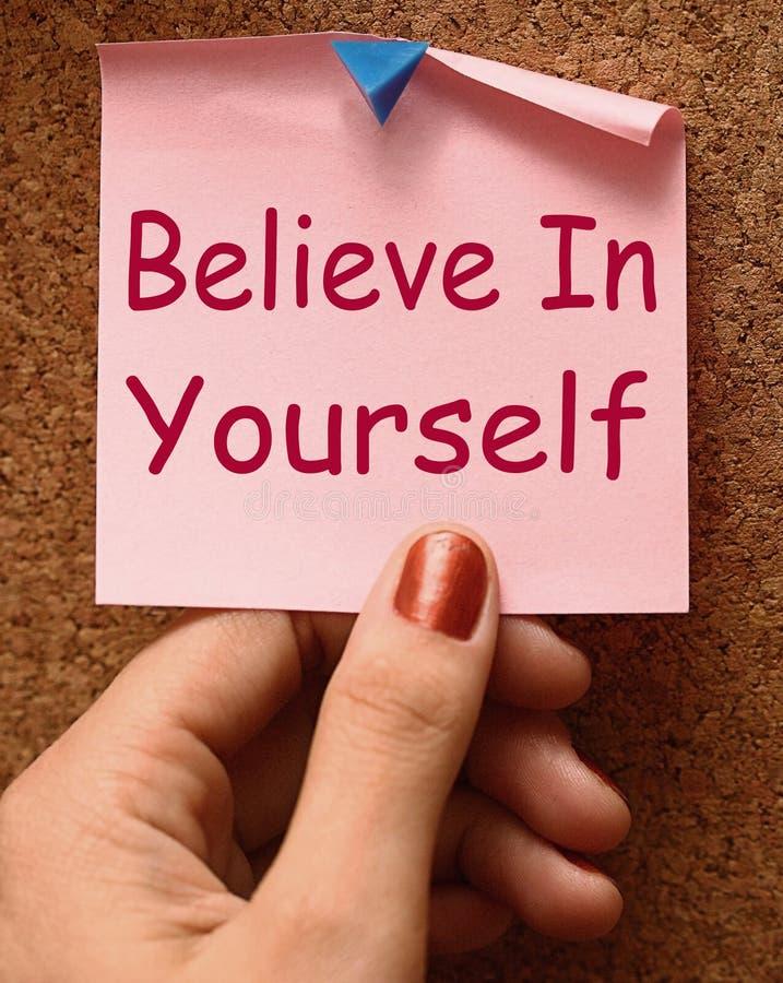 Believe In Yourself Note Shows Self Belief. Believe In Yourself Note Showing Self Belief stock illustration
