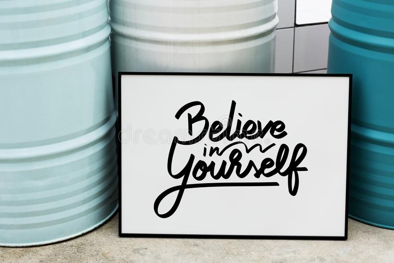 Believe in yourself quote stock image. Image of landscape - 104105209