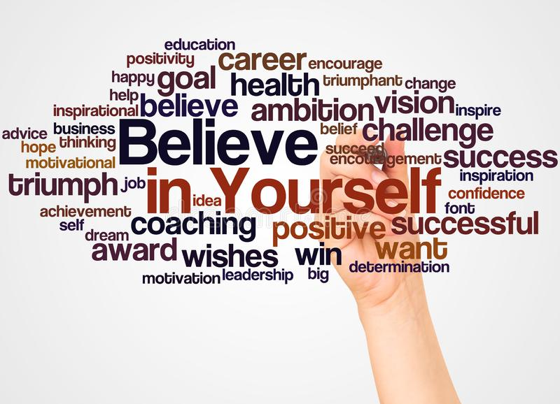 Believe in Yourself word cloud and hand with marker concept. On white background royalty free illustration