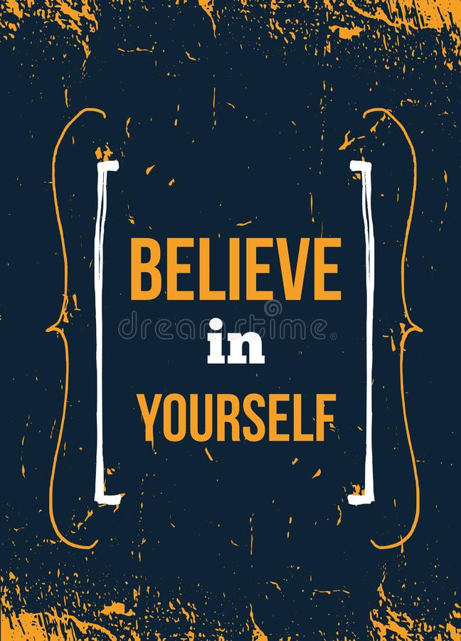 Download Believe In Yourself You Inspirational Quote, Typography Wall Art.  Stock Vector   Illustration