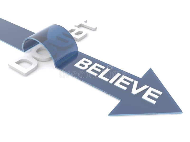 Believe Zweifel überwindend lizenzfreie abbildung