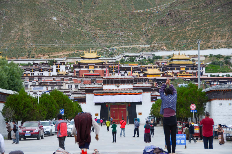 Believer of Tashilhunpo temple. The temple also has a high status in Tibet, located in Shigatse City.It was another leader of Tibetan Buddhism: the palace royalty free stock photography