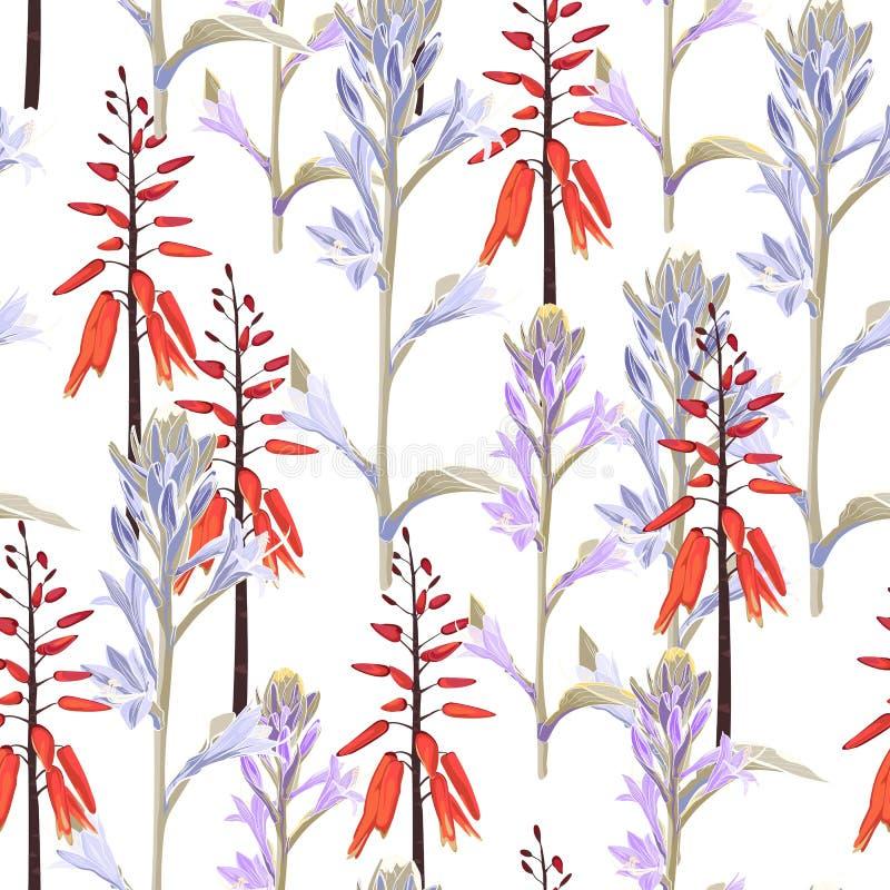 Belios violetas y anaranjados de modelo inconsútil de las flores stock de ilustración