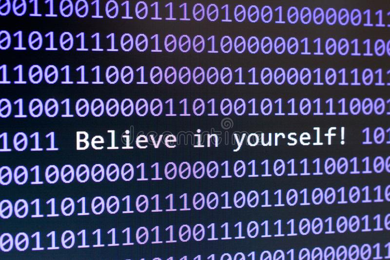 Belive in yourself digits on the screen royalty free stock image