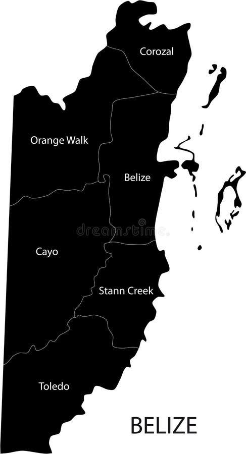 Belize översikt stock illustrationer