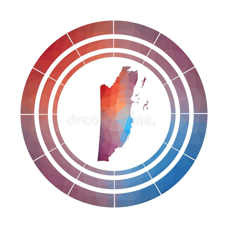 Belize badge. Bright gradient logo of country in low poly style. Multicolored Belize rounded sign with map in geometric style for your infographics vector illustration