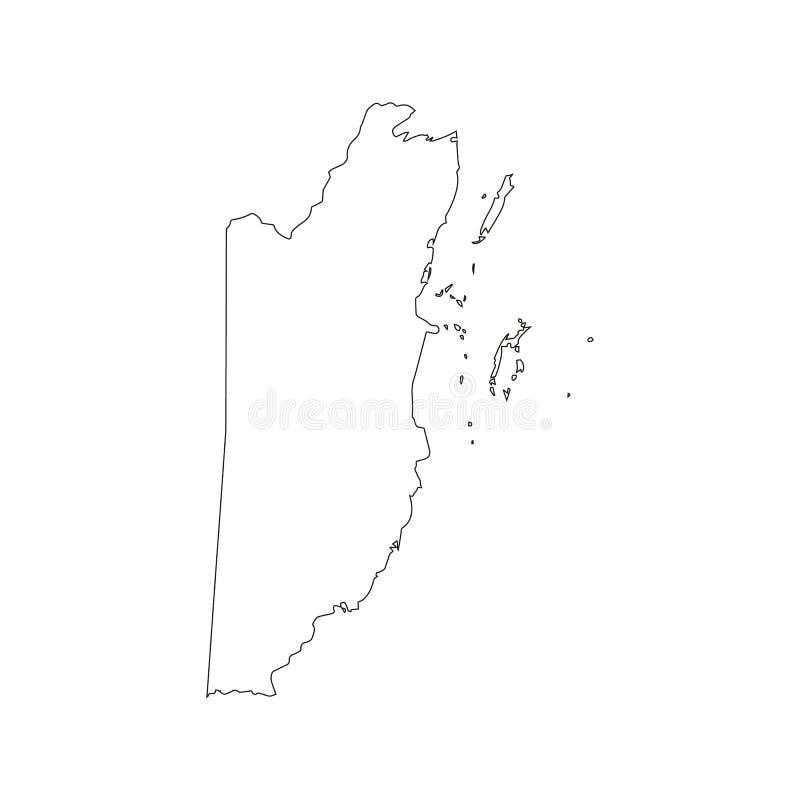 Belize - carte noire solide de frontière d'ensemble de secteur de pays Appartement simple illustration stock