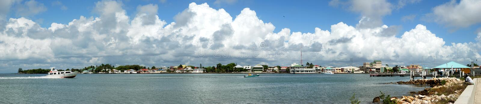 Belize City Panorama. The panoramic view of boats arriving to Belize City (Belize stock photos