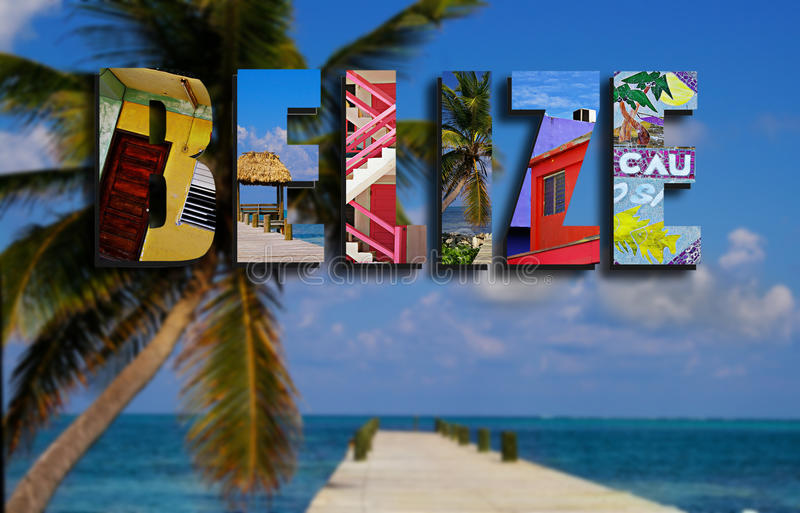 Belize collage with palm royalty free stock photos