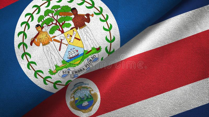 Belize and Costa Rica two flags textile cloth, fabric texture. Belize and Costa Rica flags together textile cloth, fabric texture stock illustration