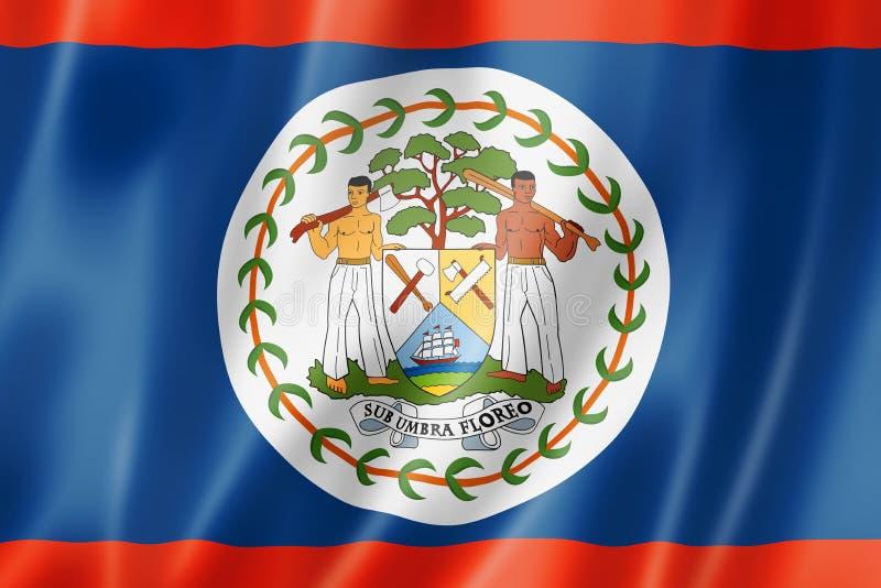 Belize flag. Three dimensional render, satin texture vector illustration