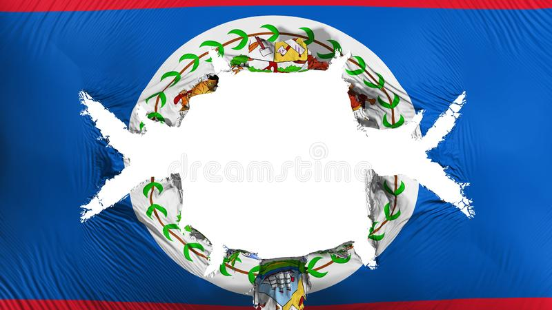 Belize flag with a big hole. White background, 3d rendering royalty free illustration
