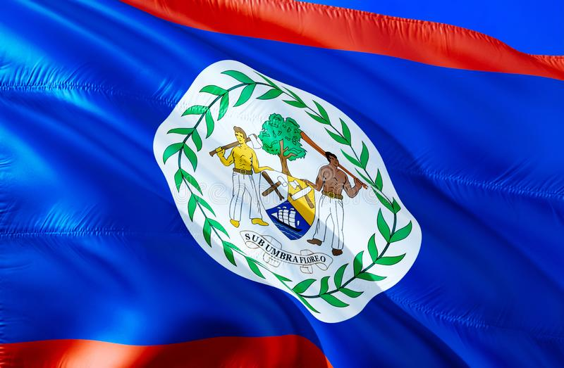 Belize flag. 3D Waving flag design. The national symbol of Belize, 3D rendering. National colors and National South America flag stock image