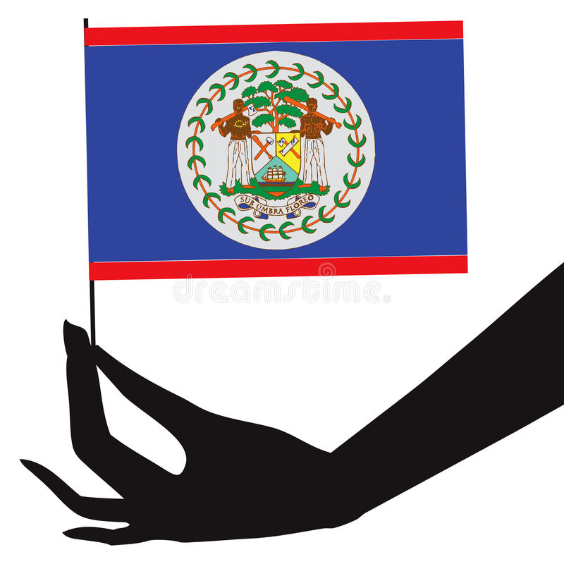 Belize flag in his hand. Vector illustration vector illustration