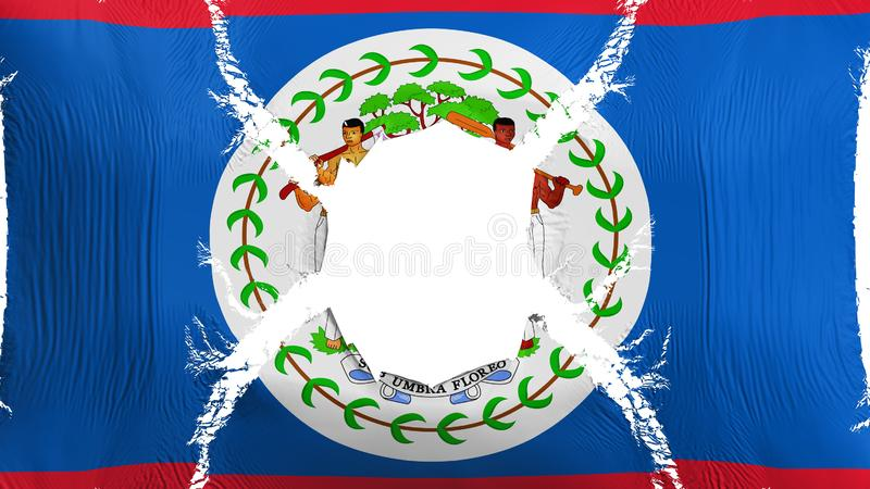 Belize flag with a hole. White background, 3d rendering stock illustration