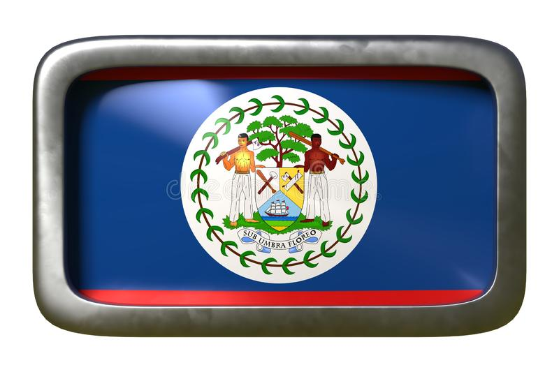 Belize flag sign. 3d rendering of a Belize flag on a rusty sign isolated on white background stock illustration