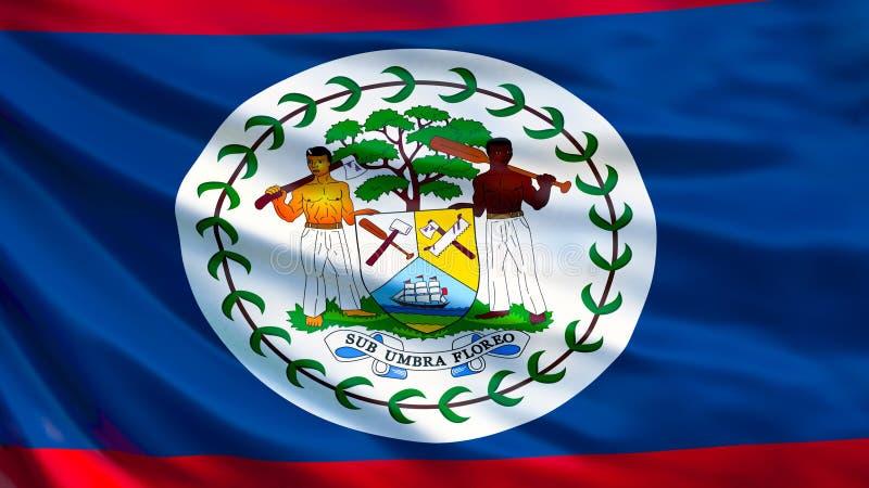 Belize flag. Waving flag of Belize 3d illustration. Belmopan stock illustration