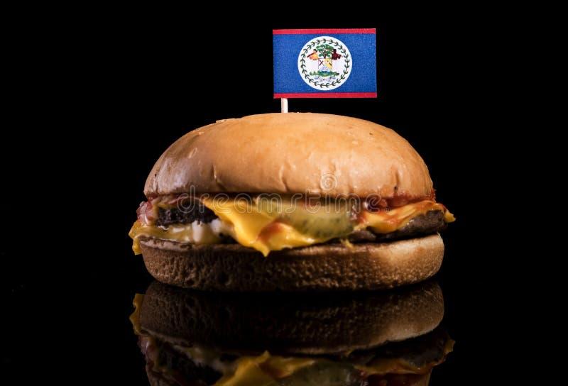 Download Belize-Flagge Auf Den Hamburger Lokalisiert Auf Schwarzem Stockfoto - Bild von markierungsfahne, rindfleisch: 96934376