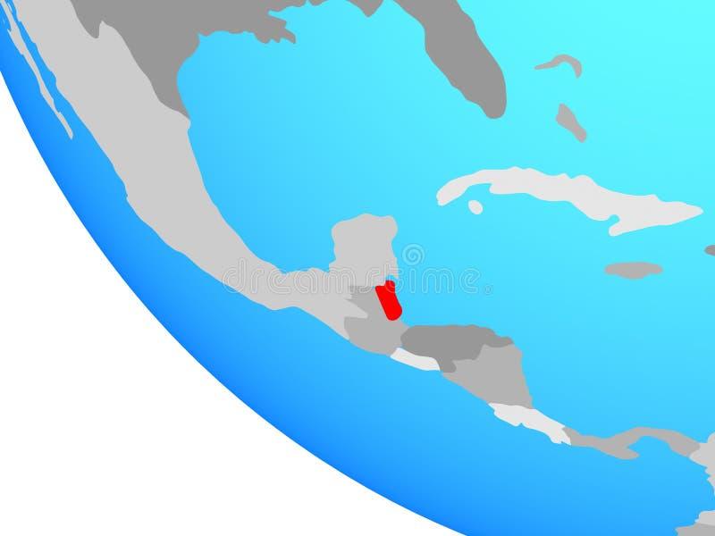 Belize on globe. Belize on simple globe. 3D illustration vector illustration