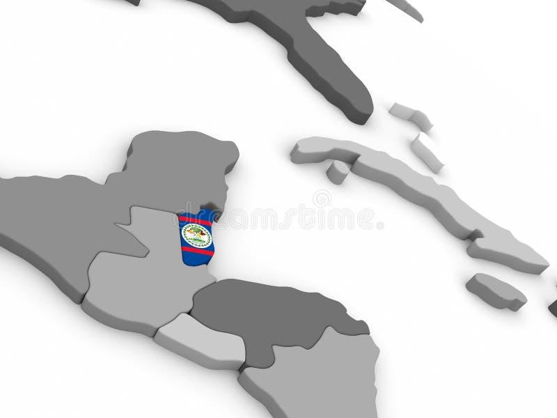 Belize on globe with flag. Map of Belize with embedded national flag. 3D illustration vector illustration